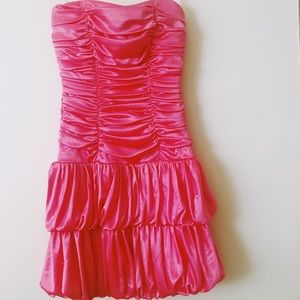 Sequin hearts pink ruffled cocktail/party dress